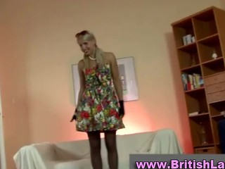 Mature British Lady Dresses Blonde In Stockings
