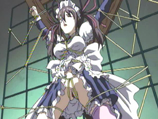 Chained Hentai Maid Gets Ass Toying