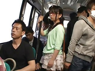 Asian Bus Glasses Japanese Public Teen