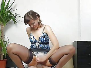 Handjob MILF Riding Stockings