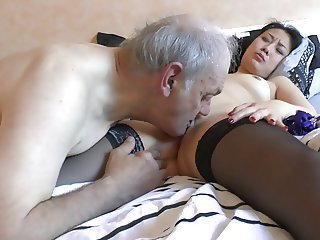 Daddy Daughter European French Licking Old and Young Stockings