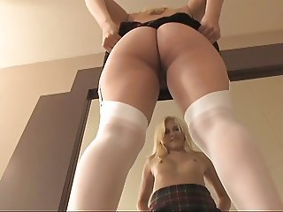 Blonde secretary spreads and dildoes herself at bottom the chiffonier