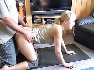 German Amateur Blonde Student fucked after Yoga