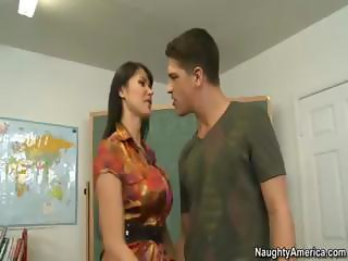 Brunette Eva Karera is this dude's first sex teacher and fucking good