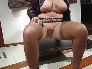 Chubby Mom Natural Pussy  Shaved Stockings