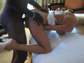Very sexy blonde wife gets doggie style interracial sexual connection