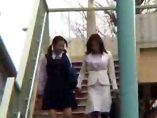 Asian Daughter Mom Old and Young Student Uniform