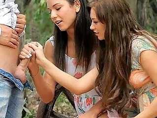 Cute Handjob  Outdoor Teen Threesome
