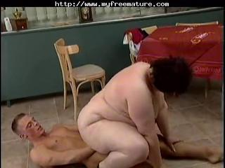 Mature Mom Old and Young Riding