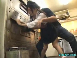 Asian Girl Round Uniform Getting Her Pussy Fucked Facial Round The Restaurants Kitchen
