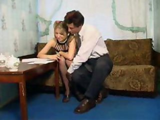 Blonde teen in pantyhose fucks with teacher