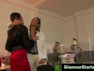 Sexy clothed scientist european lesbians lick wet pussy