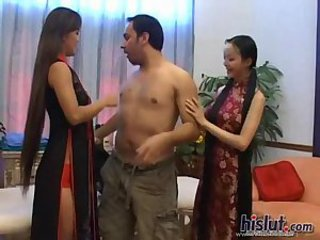 Asian Interracial Massage Threesome