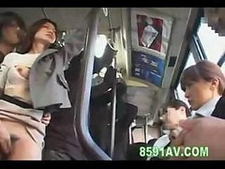 A little extra action on the bus while she fucks this guy