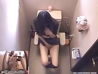 Asian HiddenCam Masturbating Toilet Voyeur