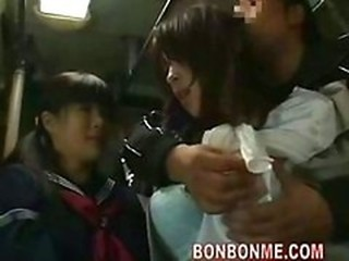 Asian Bus Daughter Japanese Mom Old and Young Public Student Uniform