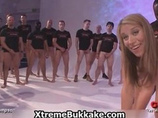 Bukkake blonde loves getting gangbanged part5