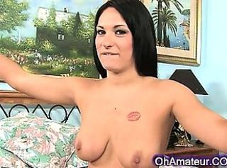 Close-fisted and perky brunette babe