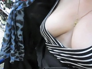 Touching her tits in market...