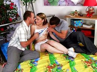 Threesome teen penetration...