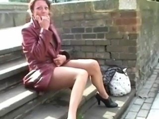 Old exhibitionist masturbating inside public and squirting onto pavements by...