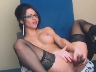 Amazing Big Tits Glasses Masturbating  Solo Stockings Toy Webcam