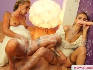 Gloryhole lesbians sucking and slimed in high definition