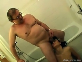 Bathroom Daddy Daughter Old and Young Small cock Teen