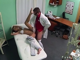 Brunette ass licked and fucked by doctor in his office