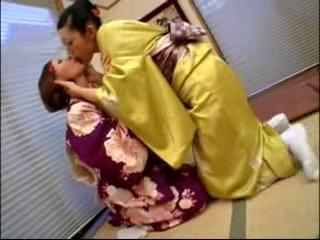 2 Girls In Kimonos Kissing Rubbing Tits Stripping