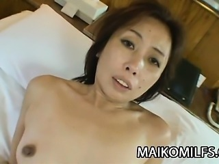 Japanese granny got some attention on her pussy