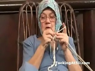 Horny granny fingers herself and gives soaking wet blowjob  free