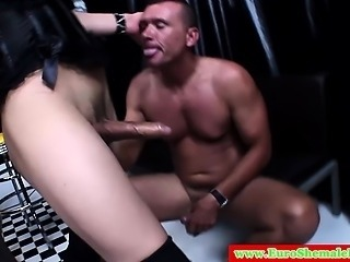 Italian tranny fucks his ass deeply