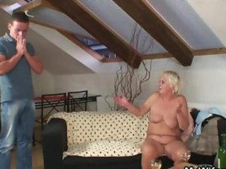 He finds old bag naked and fucks her