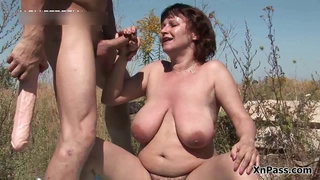Amateur  Big Tits Handjob Mature Mom Natural Outdoor