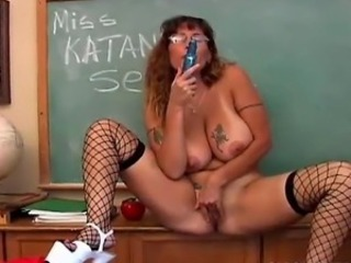 Big Tits Fishnet Glasses Masturbating Mature Natural  School Tattoo Teacher Toy