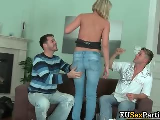 Nasty bigtit blond slut stripping part4