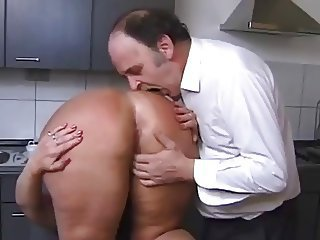 Kinky Couple in put emphasize Kitchen