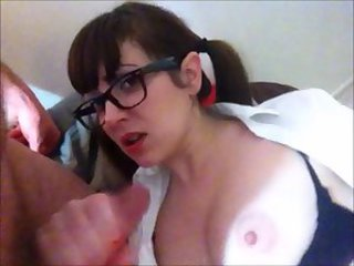 Slutty Schoolgirl Sucks and Fucks