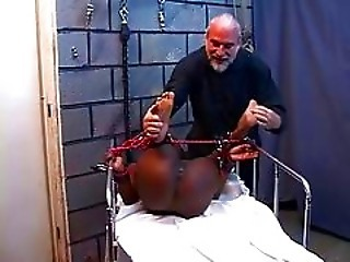 Black Girl With Hard Nipples Receive A Hard Torture By Old Guy On A Room
