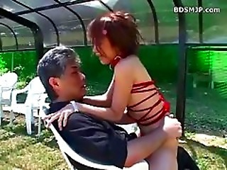 Asian Daddy Old and Young Outdoor Riding Teen