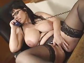 Big Tits Glasses Masturbating  Natural  Secretary Stockings