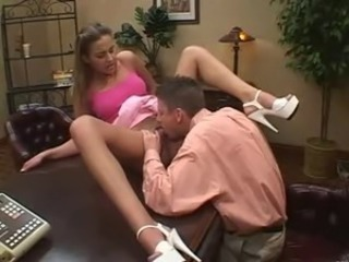British slut Poppy gets fucked up the arse on the desk