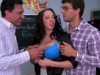Double Penetration onto A Substitute Teacher Kelly Devine inside A Classroom