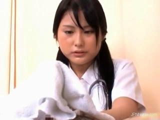 Nasty Asian nurse jerks her patients wang