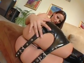 Claudia Rossi leather 3some