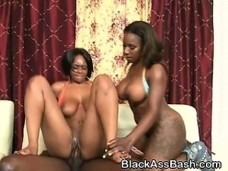 Big Tits Ebony  Natural Riding Threesome