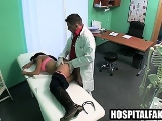 Brunette sucks cock and gets fucked by her doctor