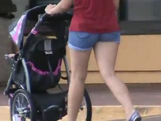 Candid Ass in short tight shorts