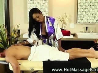 Sexy masseuse babe and client